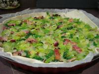 Mélange lardons et poireaux sur la pâte